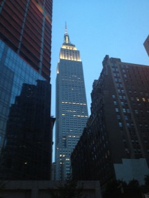 Empire State Building from the ground in the early evening.