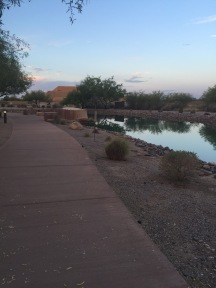 Pathway next to large water feature with desert landscaping.